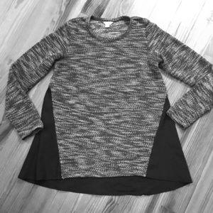 Lucky Brand Flowy Back Knit Sweater Black & White